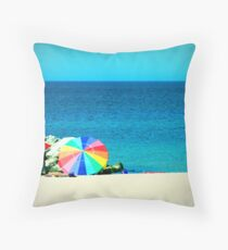 Beach with Lomo Effect Throw Pillow