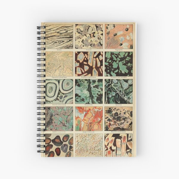 Crystals Print - Geology Print - Vintage French Science Journal Spiral Notebook
