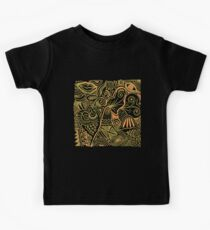 Pen and Ink Doodle Art - Green and Orange Kids Tee