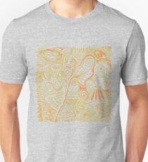 Pen and Ink Doodle Art - Green and Orange Unisex T-Shirt