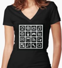 Web icon graphics (reverse white) Women's Fitted V-Neck T-Shirt