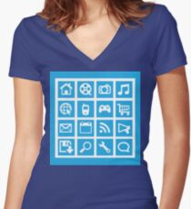 Web icon graphics (blue) Women's Fitted V-Neck T-Shirt