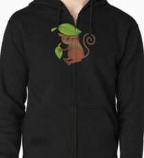 A TARSIER wild animal of the Phillipines hiding under leaves Zipped Hoodie