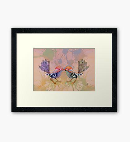 little love birds pink Framed Print