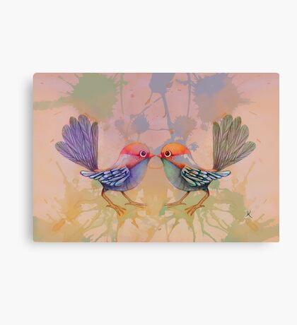 little love birds pink Canvas Print