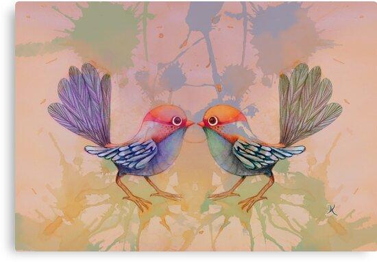 little love birds pink by Karin Taylor