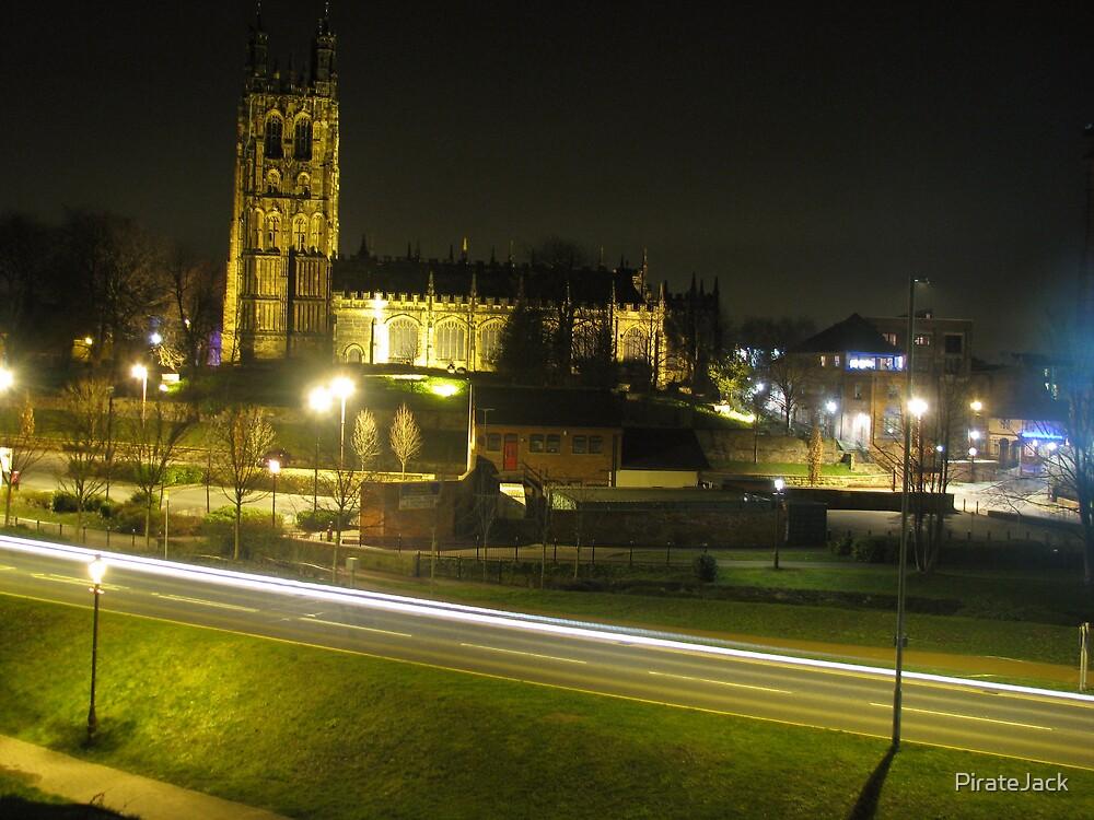 road & church at night by PirateJack