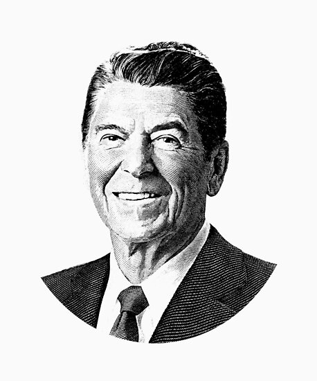 President Ronald Reagan Graphic Black And White Posters By