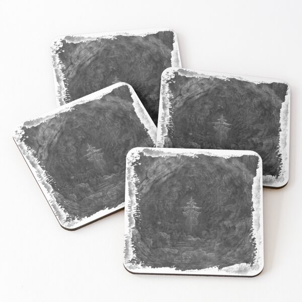The Atlas of Dreams - Plate 25 (b&w) Coasters (Set of 4)