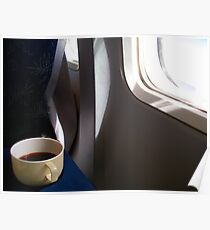 Cup of coffee in the plane Poster