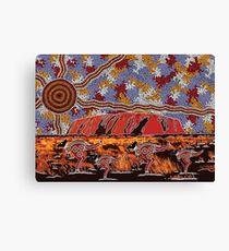 Uluru   Ayers Rock - Authentic Aboriginal Arts Canvas Print