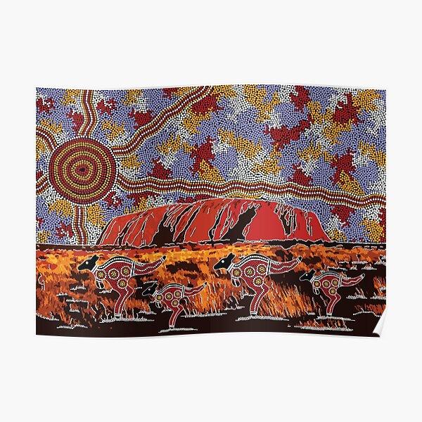 Authentic Aboriginal Art - Uluru   Ayers Rock Poster