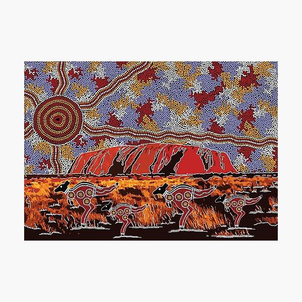 Authentic Aboriginal Art - Uluru | Ayers Rock Photographic Print