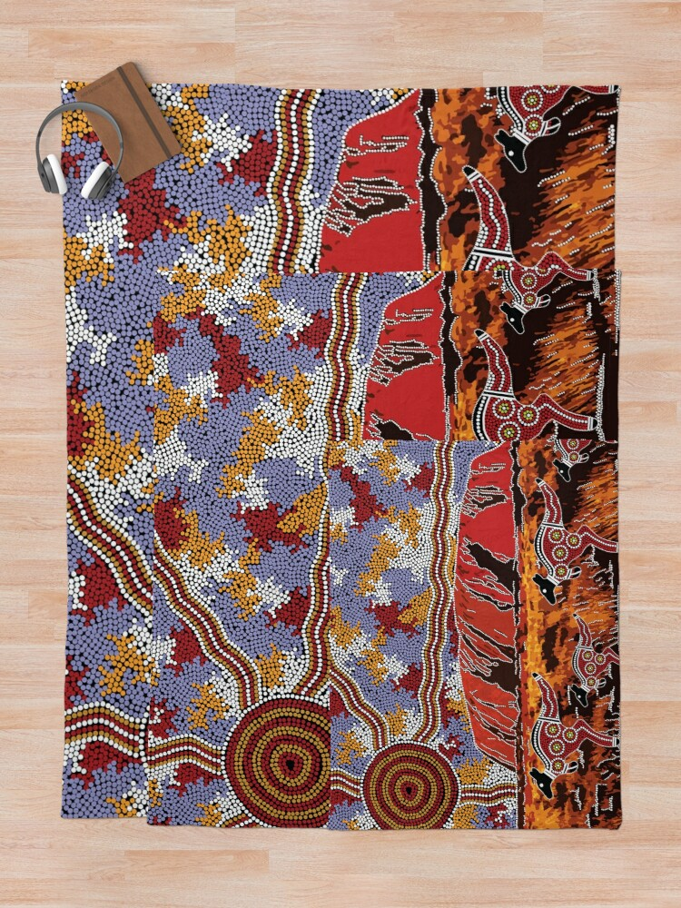 Alternate view of Authentic Aboriginal Art - Uluru | Ayers Rock Throw Blanket
