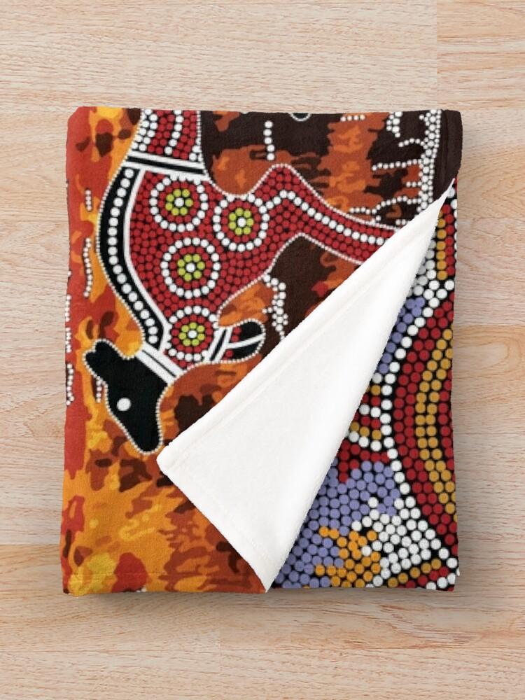 Alternate view of Uluru   Ayers Rock - Authentic Aboriginal Arts Throw Blanket