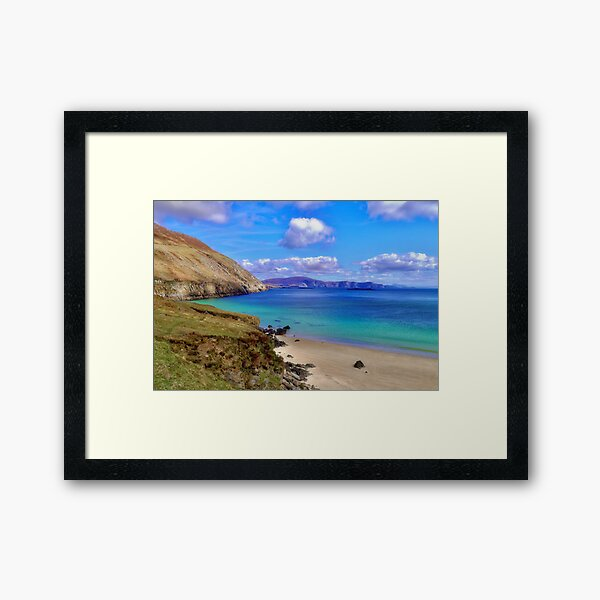 Keem Bay With The Minaun Cliffs In The Distance Off Achill Island Framed Art Print