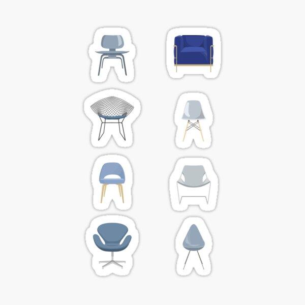 Blue Mid-Century Modern Chairs Sticker