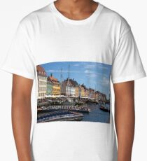 Nyhavn harbour, Copenhagen, Denmark. Long T-Shirt