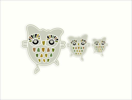 Eco Friendly Owl Family Hootenanny by Karin Taylor