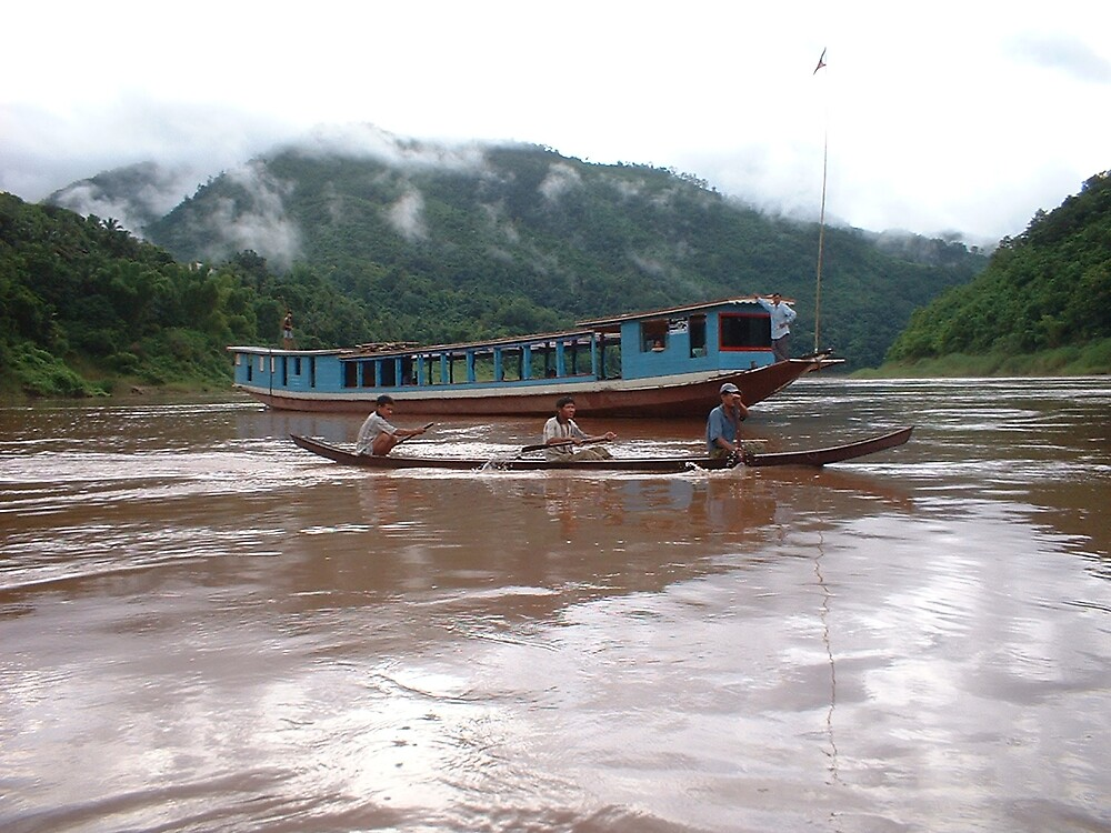 Traffic on the Mekong by Caroline Cage