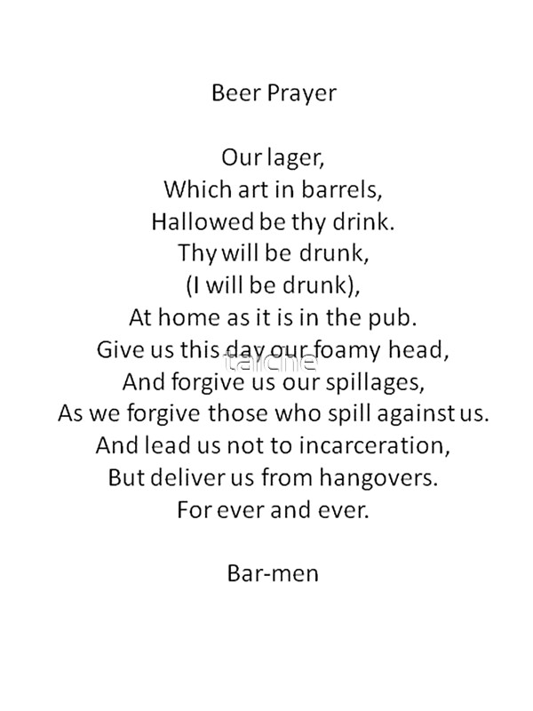 image regarding The Lord's Prayer Printable identified as Barmen Phrases Parody of the Lords Prayer Artwork Print