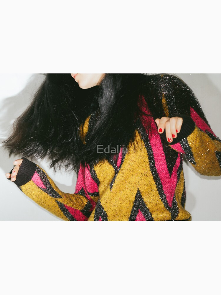 Girl teenager in a colorful retro sweater. Millennials. by Edalin