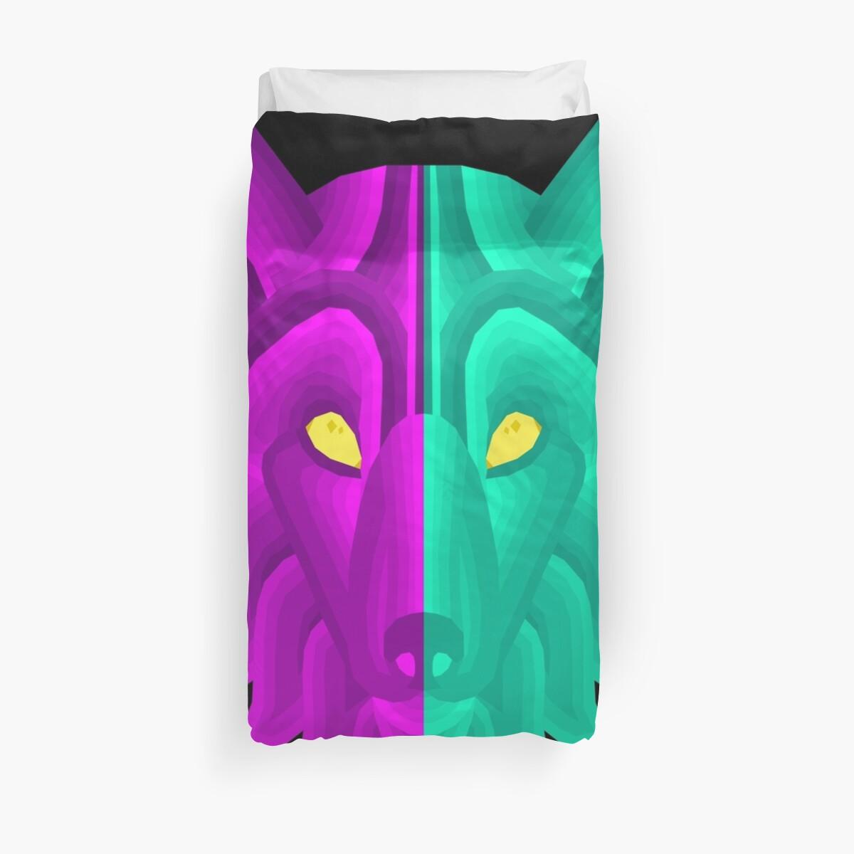 Illustration Long Dog Wolf Face Pink Blue Design by SusurrationStud