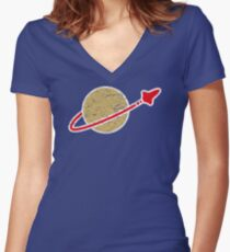 Retro  Lego Space Logo Women's Fitted V-Neck T-Shirt