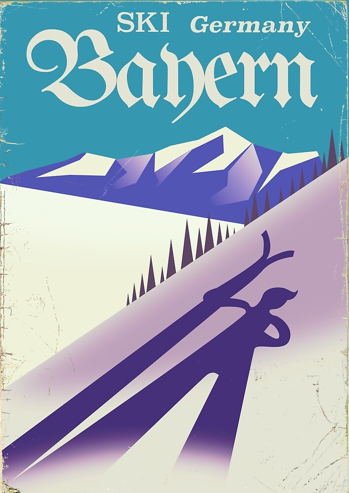 Bayern Germany vintage Ski vacation poster  by vectorwebstore