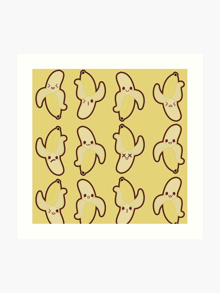 Kawaii Banana Cute Pattern Wallpaper Art Print