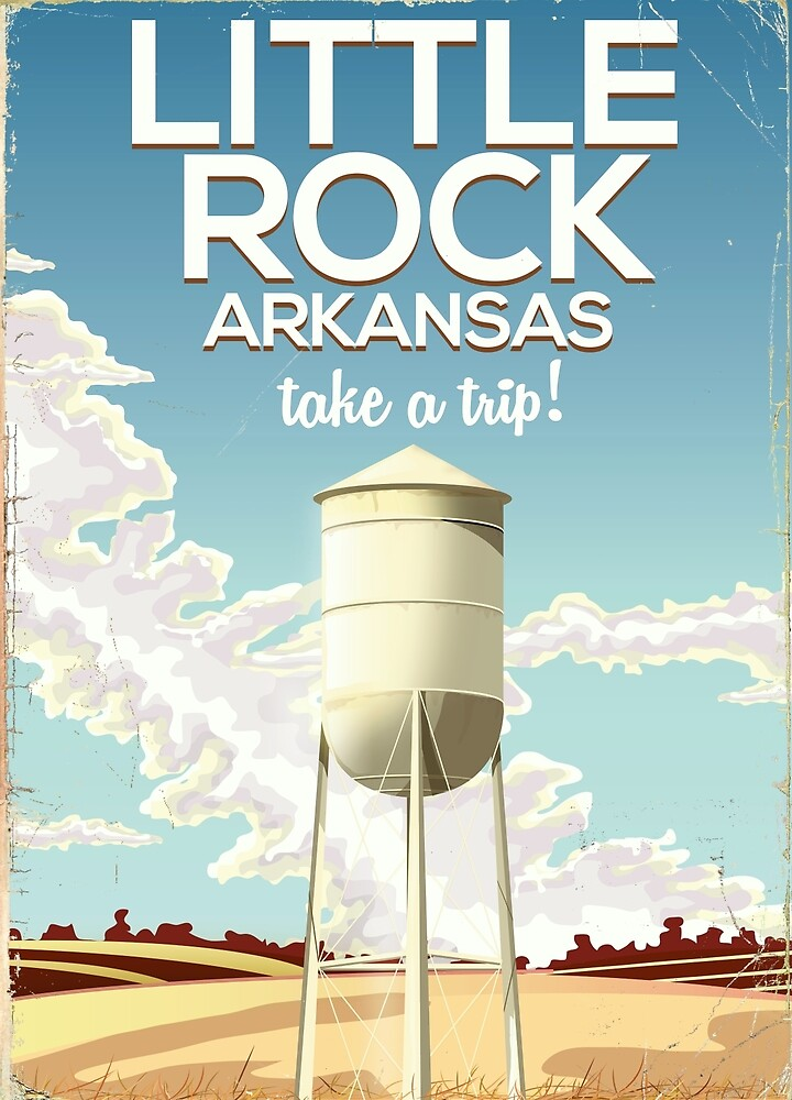 Little Rock Arkansas Vintage travel poster  by vectorwebstore