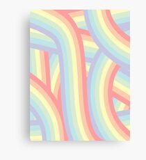 Pretty Pastel Rainbow Stripes Pattern Canvas Print
