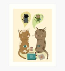 Geek Cats  Art Print