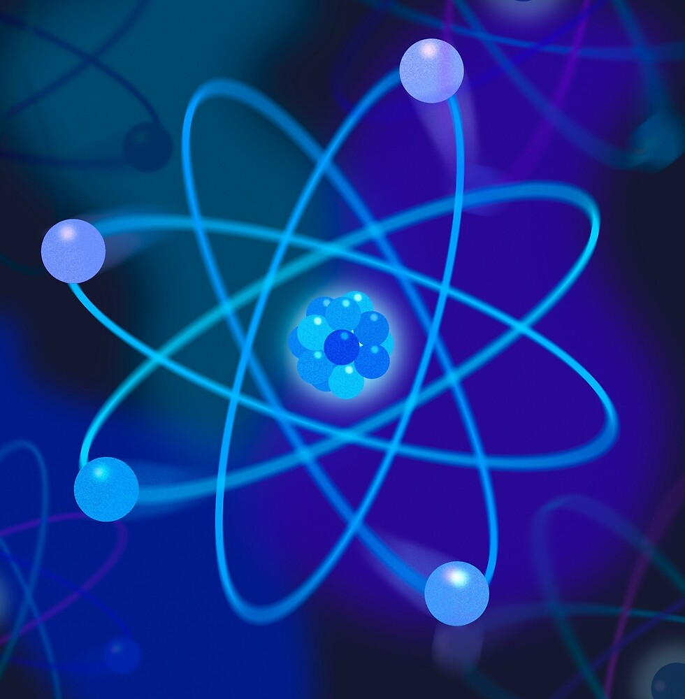 Vibrant Blue Atomic Structure by sciencegeekness