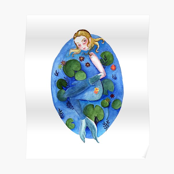 Selkie in Water Lily Pond Poster