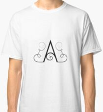 Calligraphic letter A with flourishes of decorative whorls Classic T-Shirt