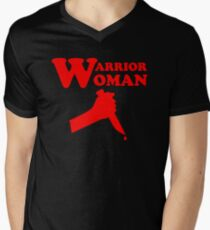 Warrior Woman bloody military soldier army knife feminists graphic Men's V-Neck T-Shirt