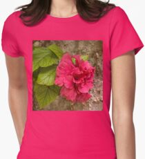 Rough and Soft - Satiny Pink Hibiscus Against Coarse Stony Cliff Womens Fitted T-Shirt