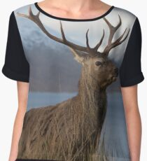 Red Deer Stag in Winter Chiffon Top