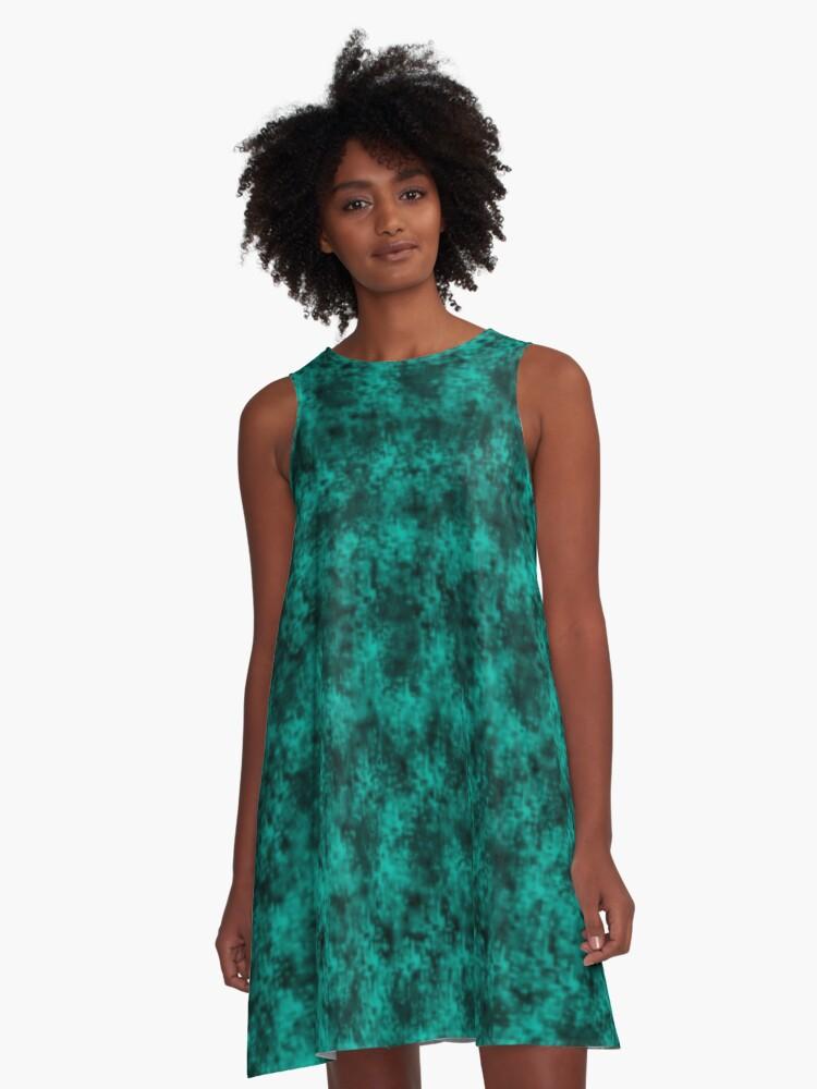 Teal Pixel Design A-Line Dress Front