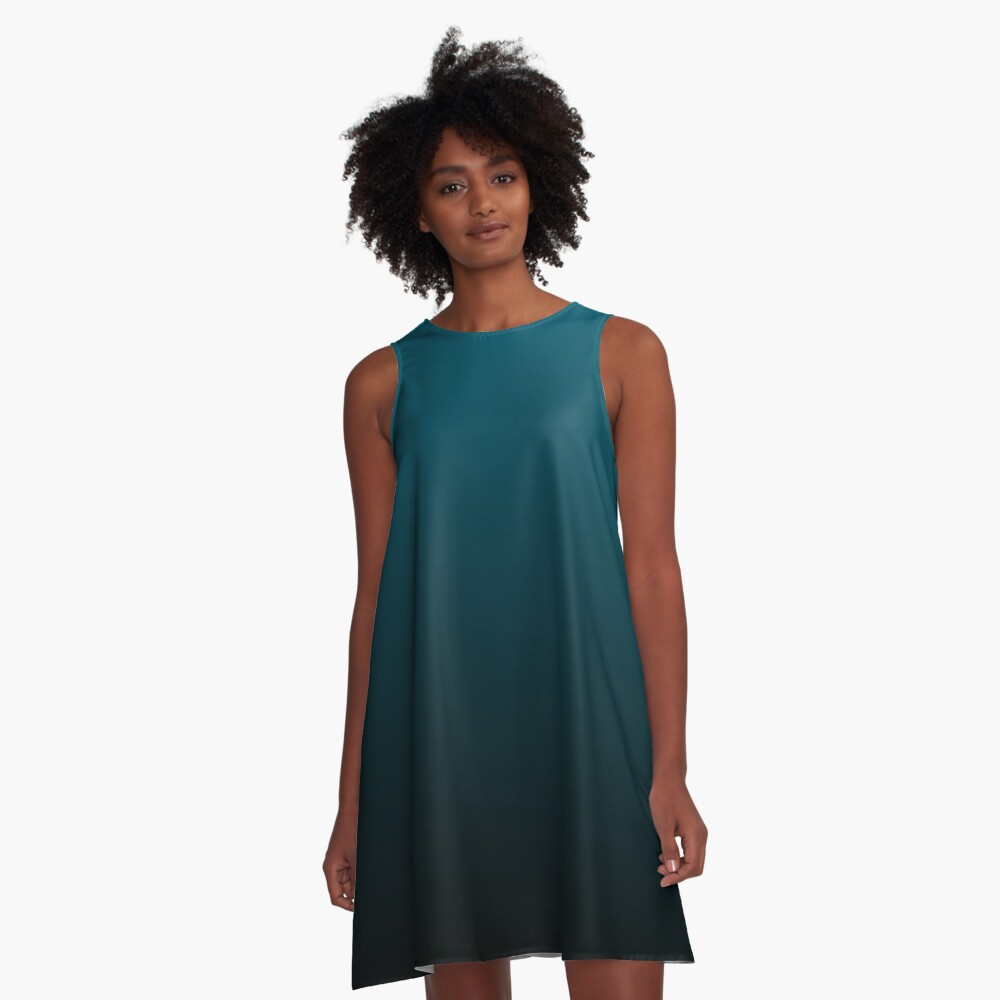 Teal fade to Black A-Line Dress Front