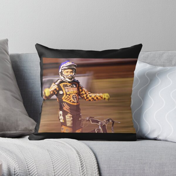 Tai Woffinden standing on bike Throw Pillow