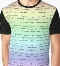 Pastel Barbed Wire Rainbow Graphic T-Shirt
