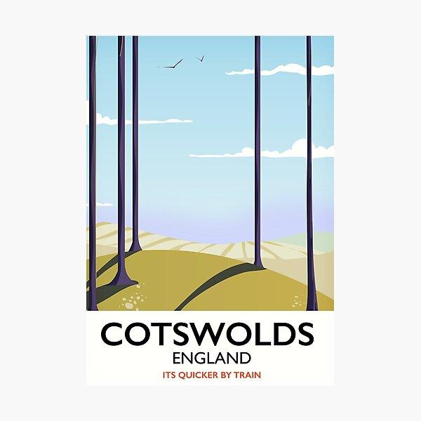 Cotswolds landscape travel poster Photographic Print
