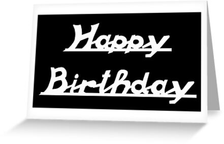Vespa Old Scroll Style Font - Happy Birthday - White by ScooterStreet