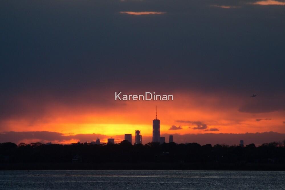 Silhouette Sunset on NYC by KarenDinan