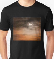 Partial solar eclipse and clouds morning sky Unisex T-Shirt