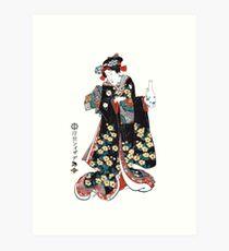 W-003 Girl with Saki Bottle Art Print