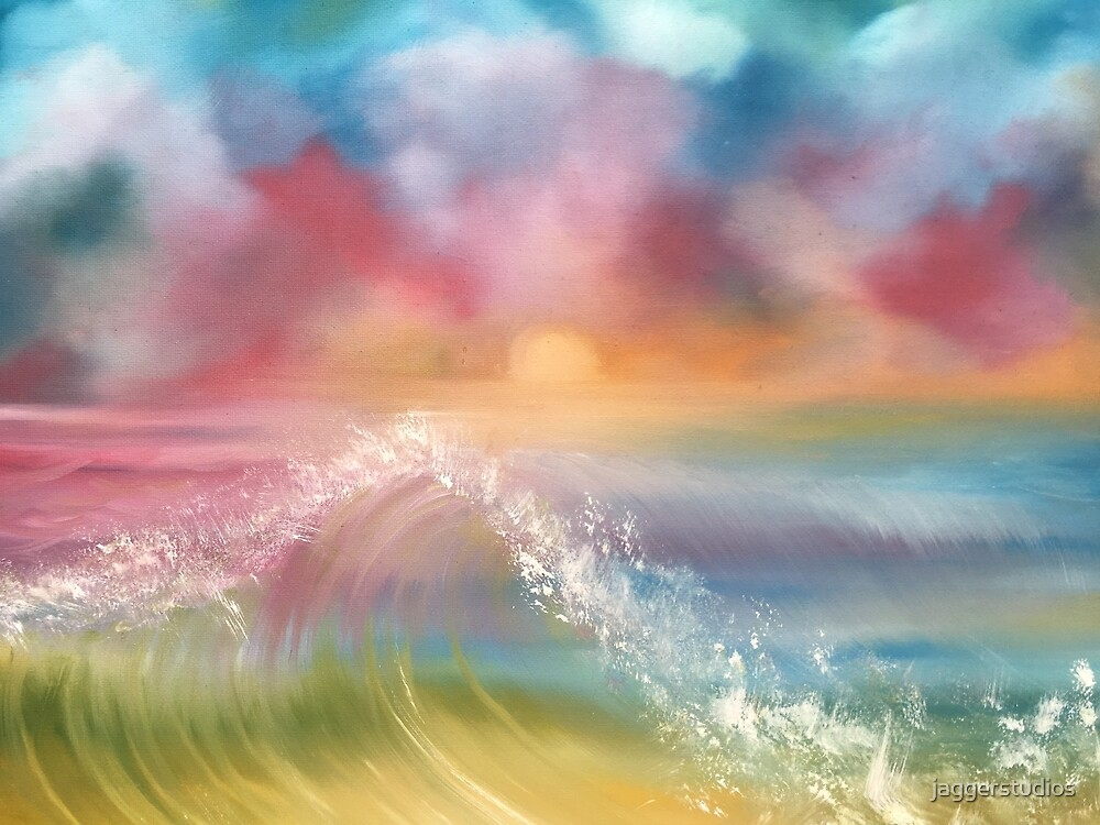 Multicoloured sunset crashing wave oil painting by jaggerstudios