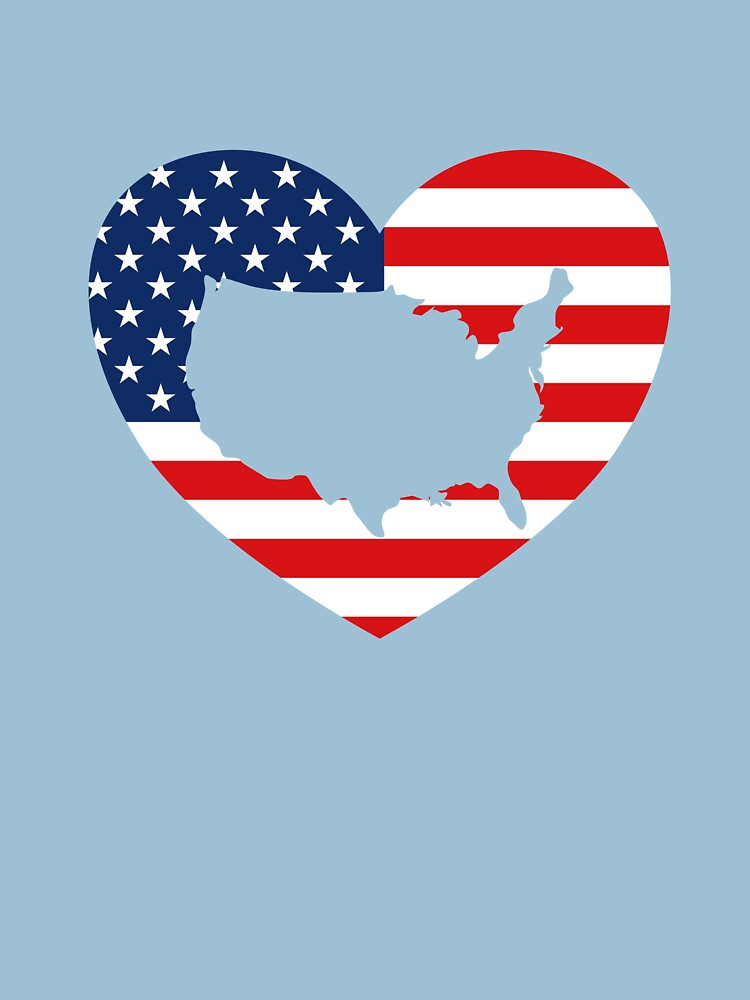 The USA is in my Heart T-Shirt US map in US Flag Heart by Dan66